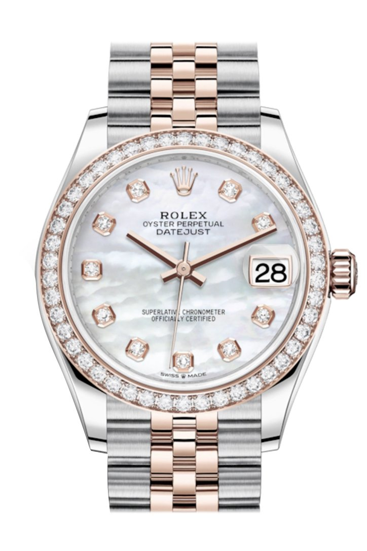 Rolex Datejust 31 White Mother-Of-Pearl Diamonds Dial Diamond Bezel Rose Gold Two Tone Jubilee Watch