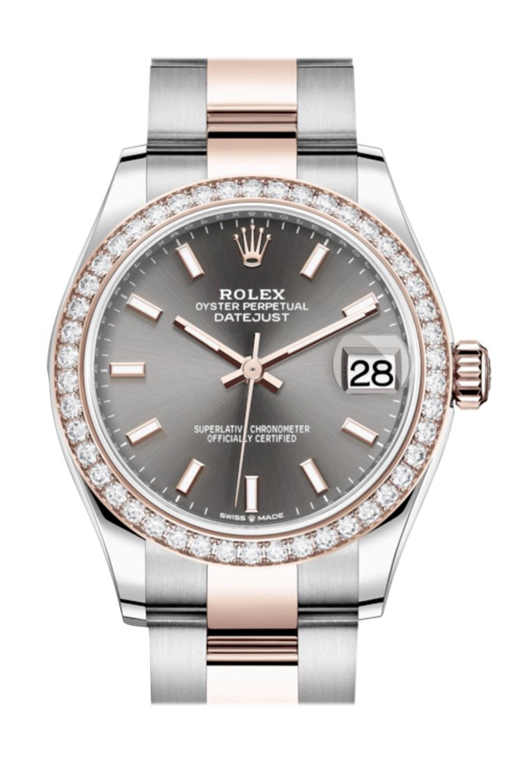 Rolex Datejust 31 Dark Rhodium Dial Diamond Bezel Rose Gold Two Tone Watch 278381RBR 278381