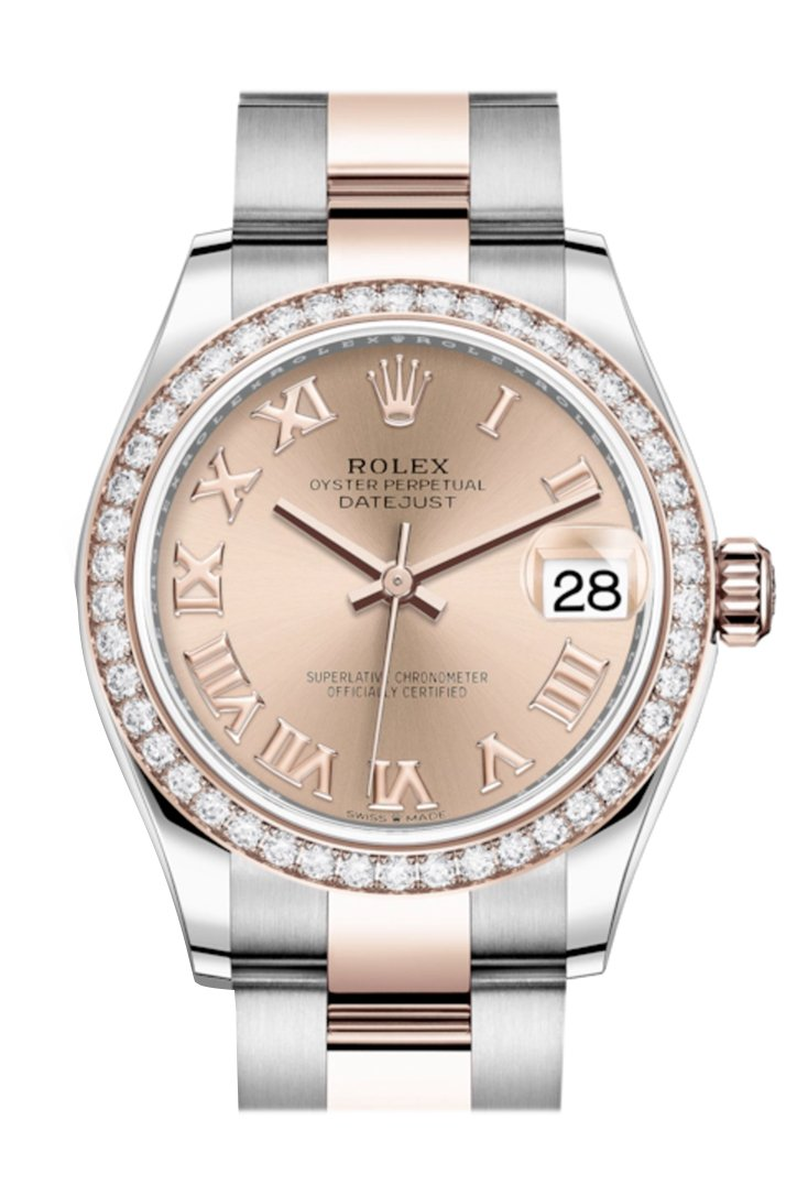 Rolex Datejust 31 Rosé Roman Dial Diamond Bezel Rose Gold Two Tone Watch 278381RBR 278381