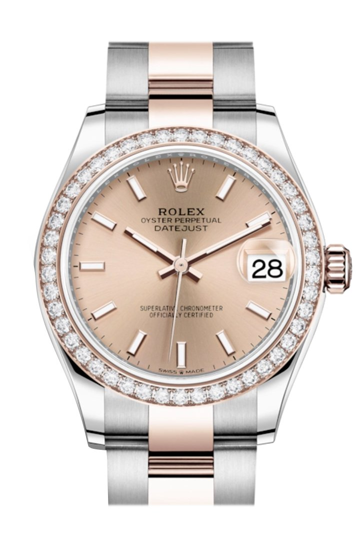 Rolex Datejust 31 Rosé Dial Diamond Bezel Rose Gold Two Tone Watch 278381RBR 278381