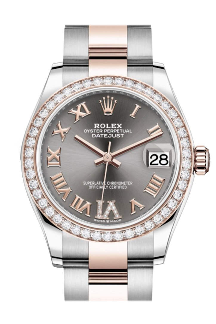 Rolex Datejust 31 Rhodium VI Diamonds Dial Diamond Bezel Rose Gold Two Tone Watch 278381RBR 278381