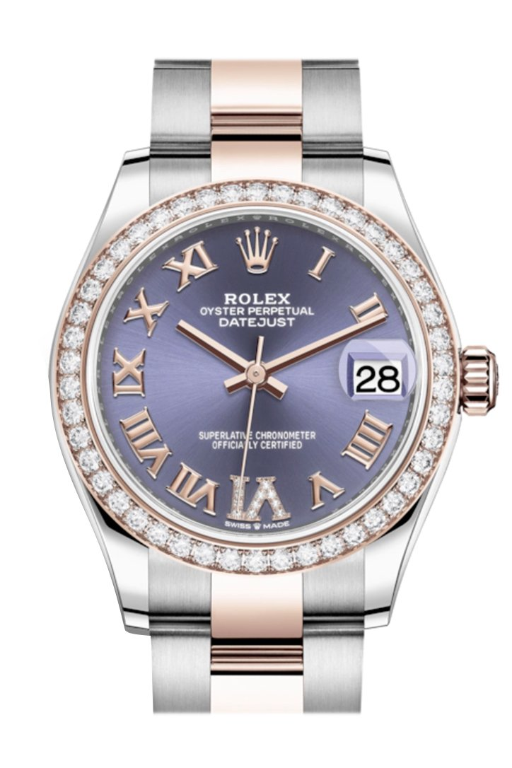 Rolex Datejust 31 Aubergine VI Diamonds Dial Diamond Bezel Rose Gold Two Tone Watch 278381RBR 278381