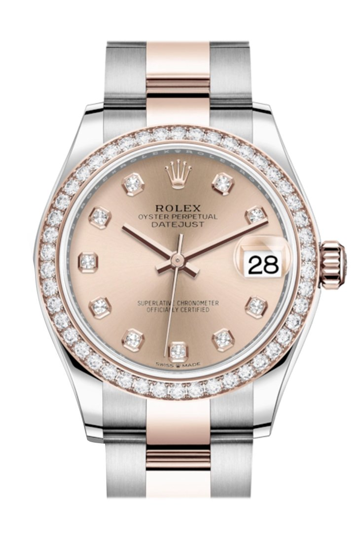 Rolex Datejust 31 Rosé Diamonds Dial Diamond Bezel Rose Gold Two Tone Watch 278381RBR 278381
