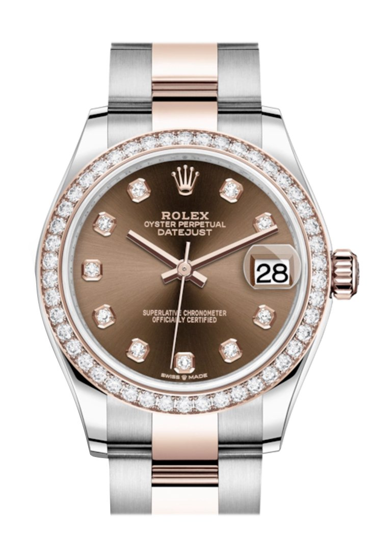 Rolex Datejust 31 Chocolate Diamonds Dial Diamond Bezel Rose Gold Two Tone Watch 278381RBR 278381