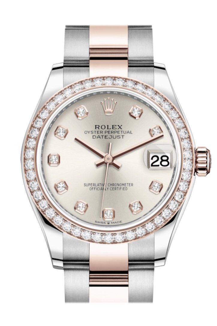 Rolex Datejust 31 Silver Diamonds Dial Diamond Bezel Rose Gold Two Tone Watch 278381RBR 278381