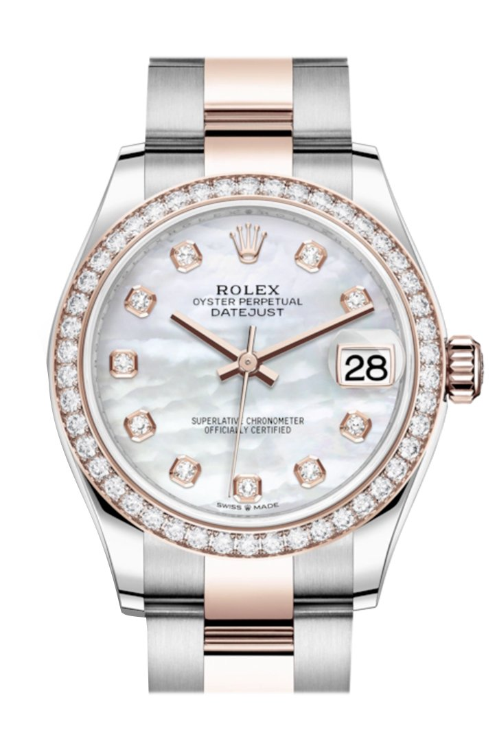 Rolex Datejust 31 White Mother-Of-Pearl Diamonds Dial Diamond Bezel Rose Gold Two Tone Watch