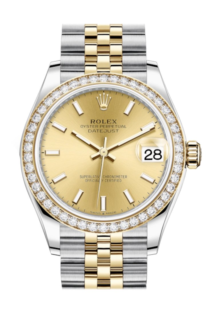 Rolex Datejust 31 Champagne Dial Diamond Bezel Yellow Gold Two Tone Jubilee Watch 278383Rbr 278383