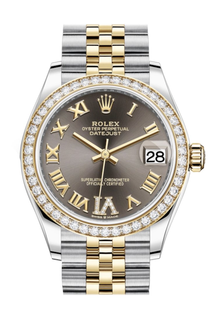 Rolex Datejust 31 Dark Grey Vi Diamonds Dial Diamond Bezel Yellow Gold Two Tone Jubilee Watch