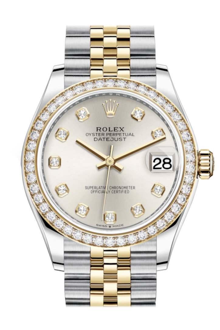 Rolex Datejust 31 Silver Diamonds Dial Diamond Bezel Yellow Gold Two Tone Jubilee Watch 278383Rbr