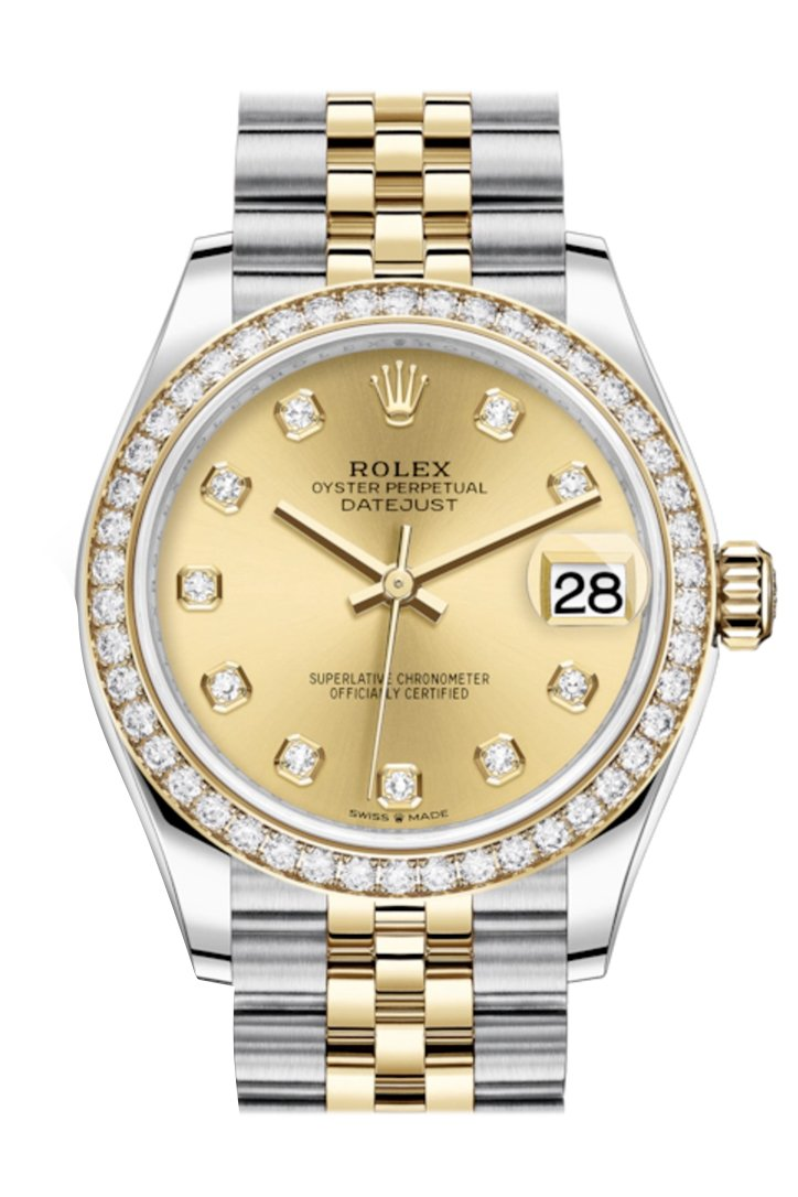 Rolex Datejust 31 Champagne Diamonds Dial Diamond Bezel Yellow Gold Two Tone Jubilee Watch 278383Rbr