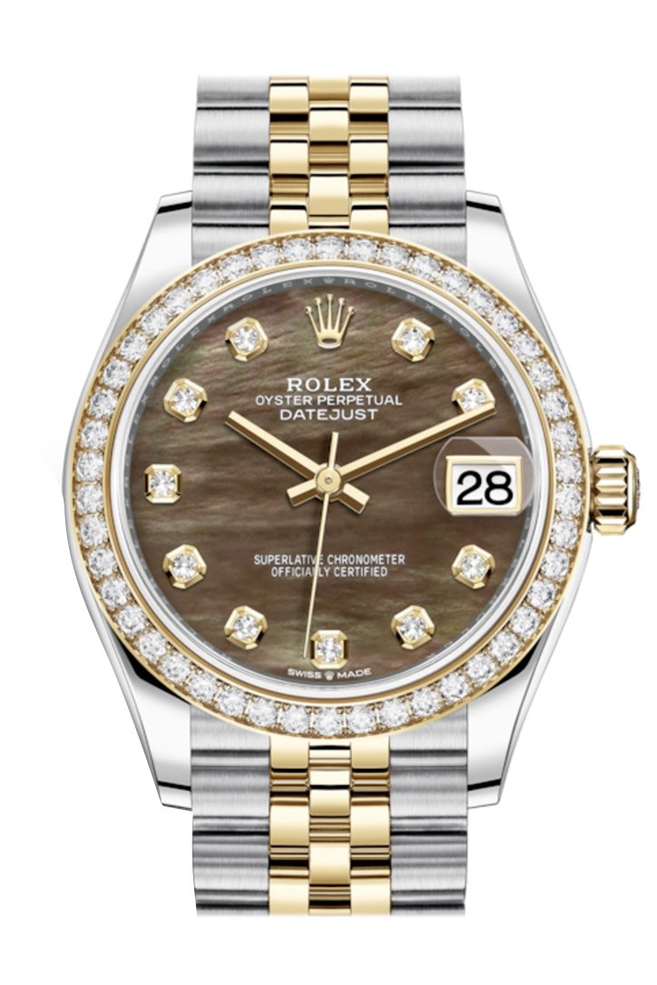 Rolex Datejust 31 Black Mother-Of-Pearl Diamonds Dial Diamond Bezel Yellow Gold Two Tone Jubilee