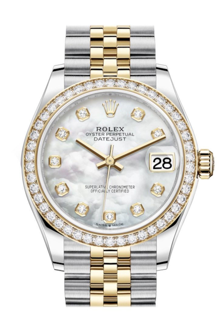 Rolex Datejust 31 White Mother-Of-Pearl Diamonds Dial Diamond Bezel Yellow Gold Two Tone Jubilee