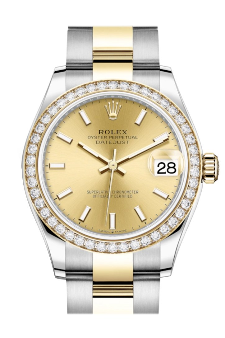 Rolex Datejust 31 Champagne Dial Diamond Bezel Yellow Gold Two Tone Watch 278383Rbr 278383
