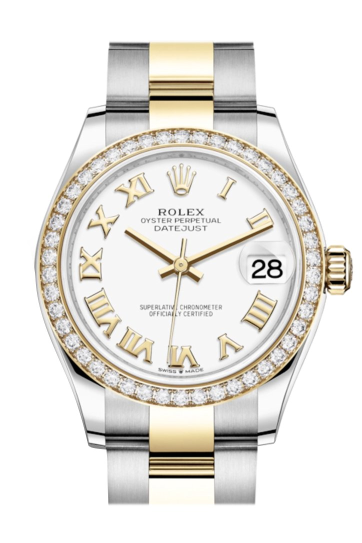 Rolex Datejust 31 White Roman Dial Diamond Bezel Yellow Gold Two Tone Watch 278383Rbr 278383