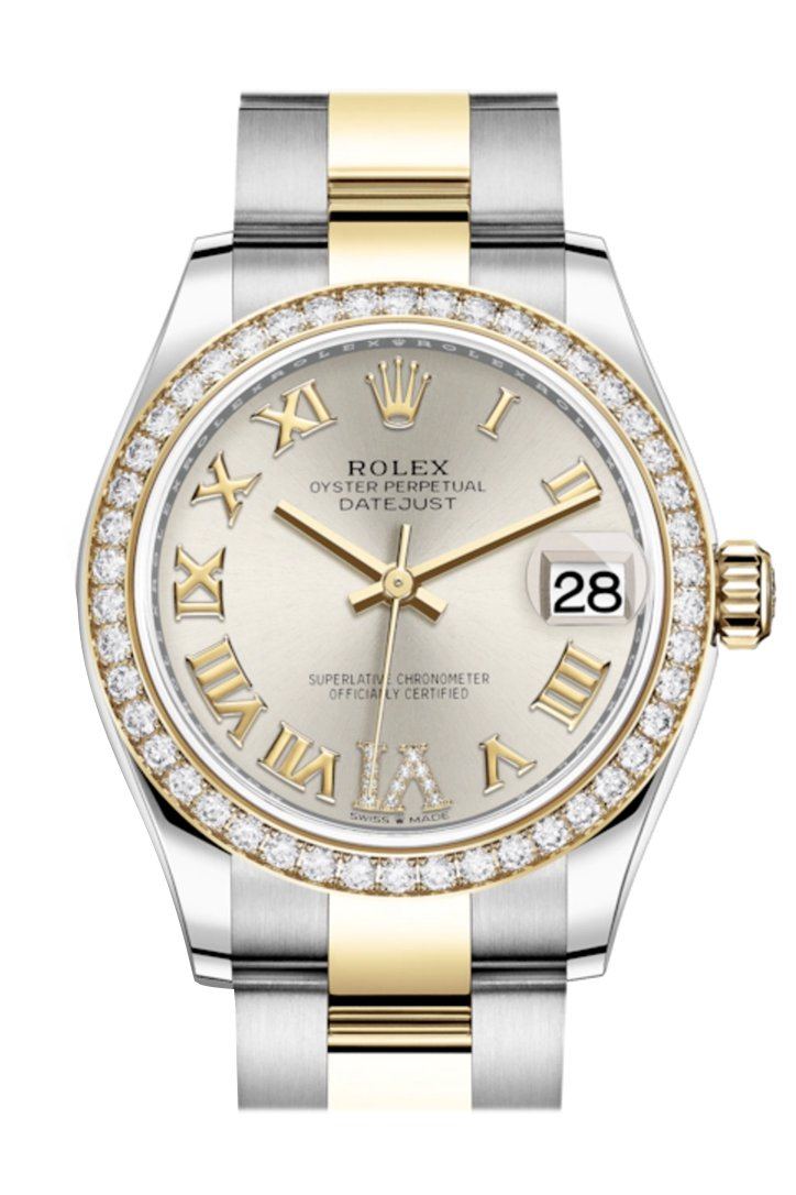 Rolex Datejust 31 Silver Vi Diamonds Dial Diamond Bezel Yellow Gold Two Tone Watch 278383Rbr 278383