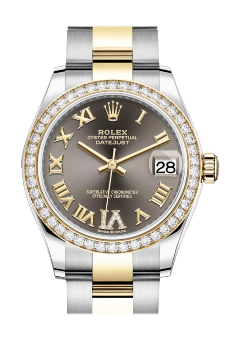 Rolex Datejust 31 Dark Grey Vi Diamond Bezel Yellow Gold Two Tone Watch 278383Rbr 278383
