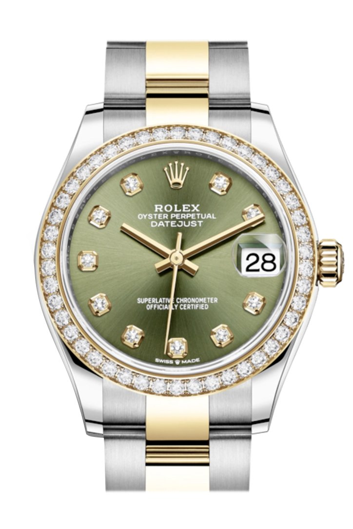 Rolex Datejust 31 Olive Green Diamonds Dial Diamond Bezel Yellow Gold Two Tone Watch 278383Rbr
