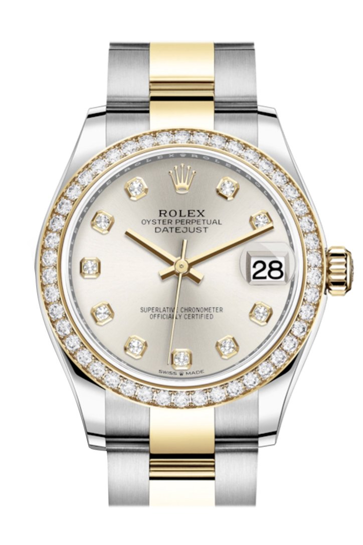 Rolex Datejust 31 Silver Diamonds Dial Diamond Bezel Yellow Gold Two Tone Watch 278383Rbr 278383