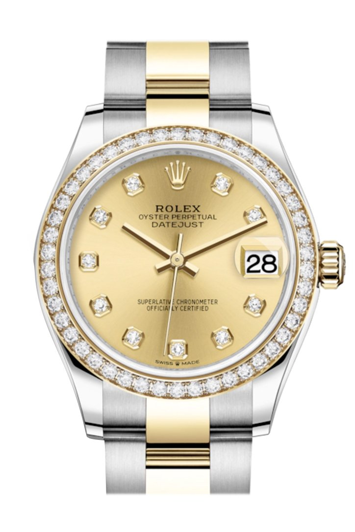 Rolex Datejust 31 Champagne Diamonds Dial Diamond Bezel Yellow Gold Two Tone Watch 278383Rbr 278383