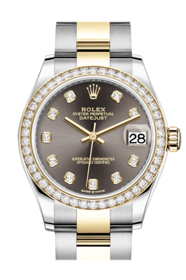 Rolex Datejust 31 Dark Grey Diamonds Dial Diamond Bezel Yellow Gold Two Tone Watch 278383Rbr 278383