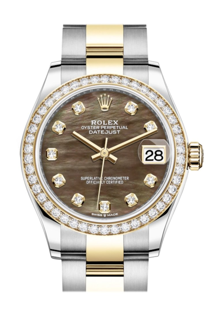 Rolex Datejust 31 Black Mother-Of-Pearl Diamonds Dial Diamond Bezel Yellow Gold Two Tone Watch