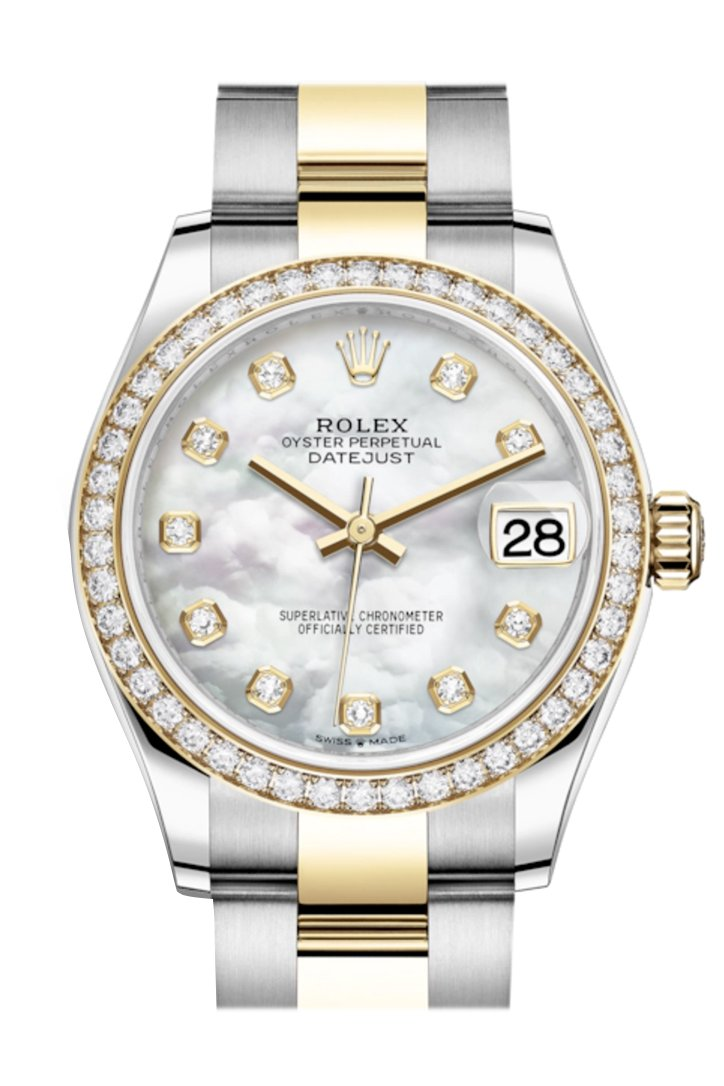 Rolex Datejust 31 White Mother-Of-Pearl Diamonds Dial Diamond Bezel Yellow Gold Two Tone Watch