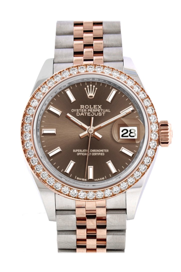 Rolex Datejust 28 Chocolate Dial Diamond Bezel Rose Gold Two Tone Watch 279381Rbr 279381