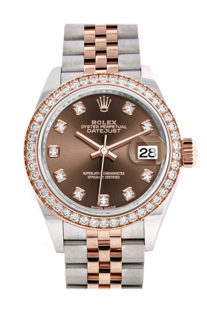 Rolex Datejust 28 Chocolate Diamonds Dial White Roman Diamond Bezel Rose Gold Two Tone Watch