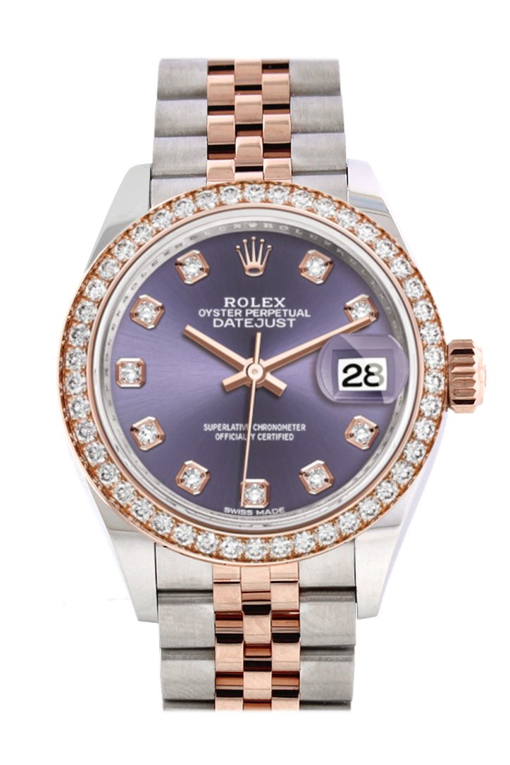 Rolex Datejust 28 Aubergine Diamonds Dialdiamond Bezel Rose Gold Two Tone Watch 279381Rbr 279381