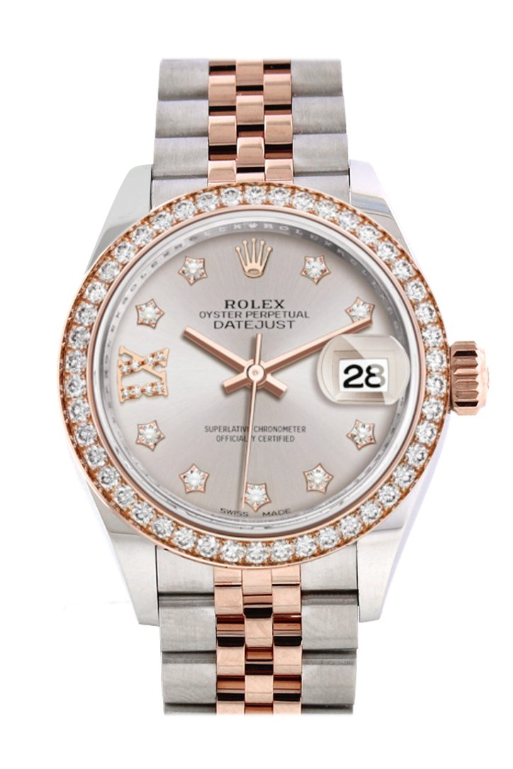 Rolex Datejust 28 Sundust Large Vi Diamonds Dialdiamond Bezel Rose Gold Two Tone Watch 279381Rbr