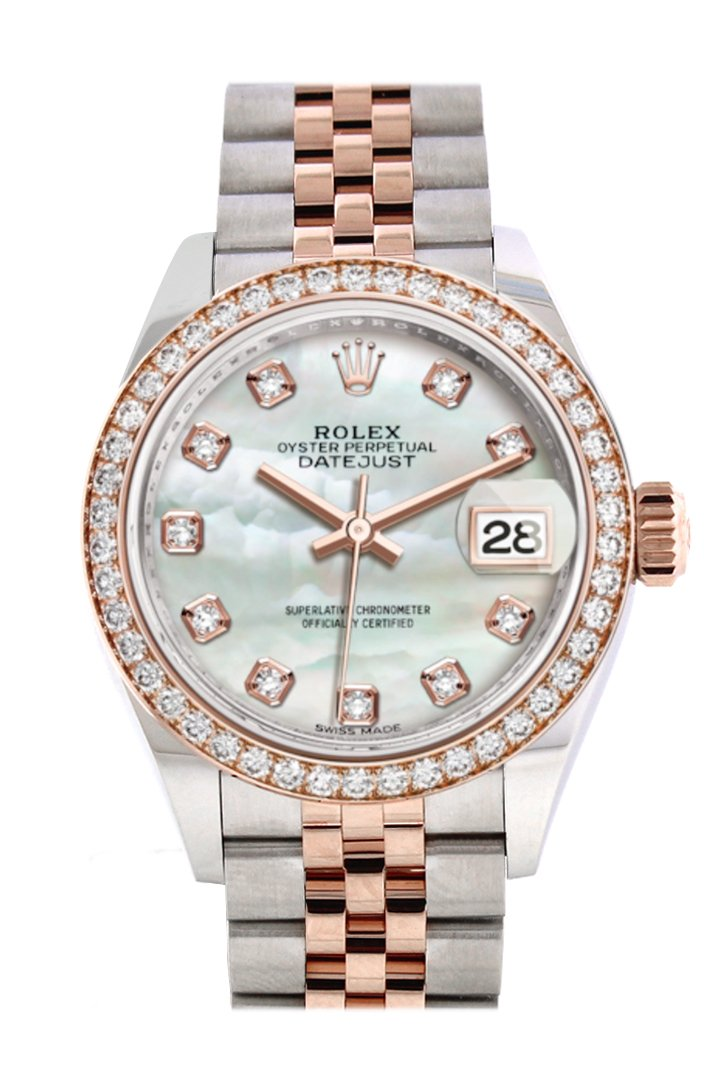 Rolex Datejust 28 Mother-Of-Pearl Diamonds Dial Diamond Bezel Rose Gold Two Tone Watch 279381Rbr
