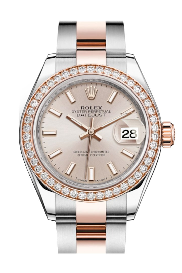Rolex Datejust 28 Sundust Dial Diamond Bezel Rose Gold Two Tone Watch 279381Rbr 279381