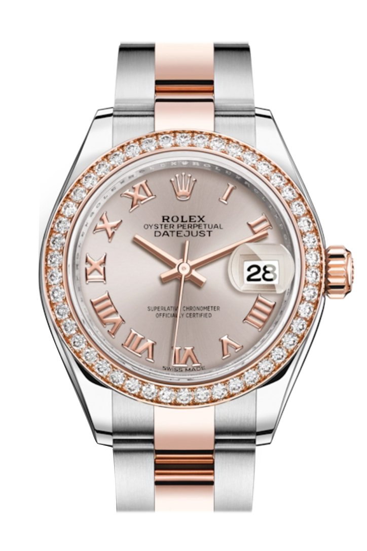 Rolex Datejust 28 Sundust Roman Dial Diamond Bezel Rose Gold Two Tone Watch 279381Rbr 279381