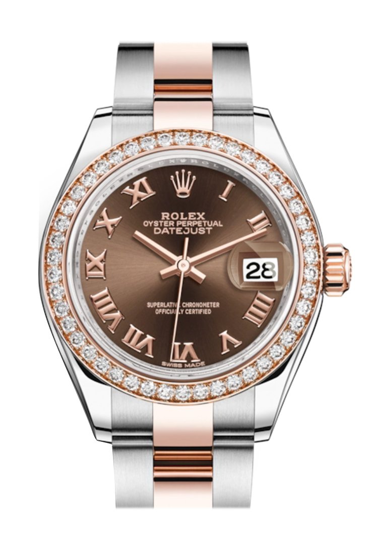 Rolex Datejust 28 Chocolate Roman Dial Diamond Bezel Rose Gold Two Tone Watch 279381Rbr 279381