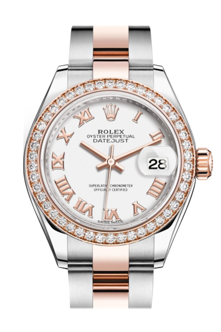 Rolex Datejust 28 White Roman Dial Diamond Bezel Rose Gold Two Tone Watch 279381Rbr 279381