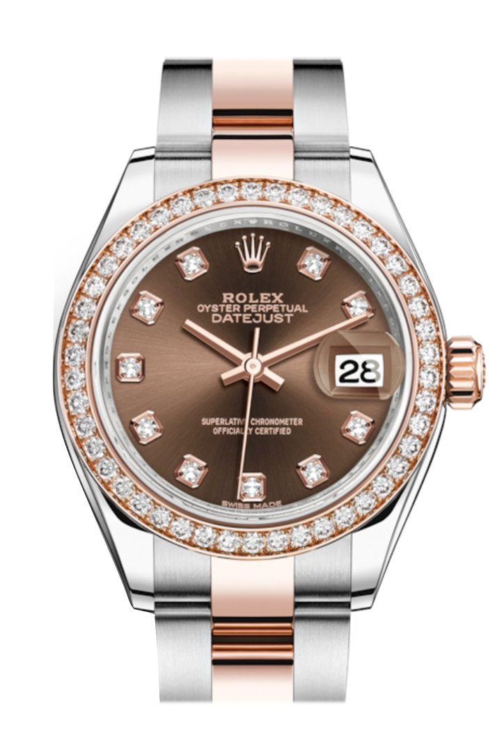 Rolex Datejust 28 Chocolate Diamonds Dial Diamond Bezel Rose Gold Two Tone Watch 279381Rbr 279381