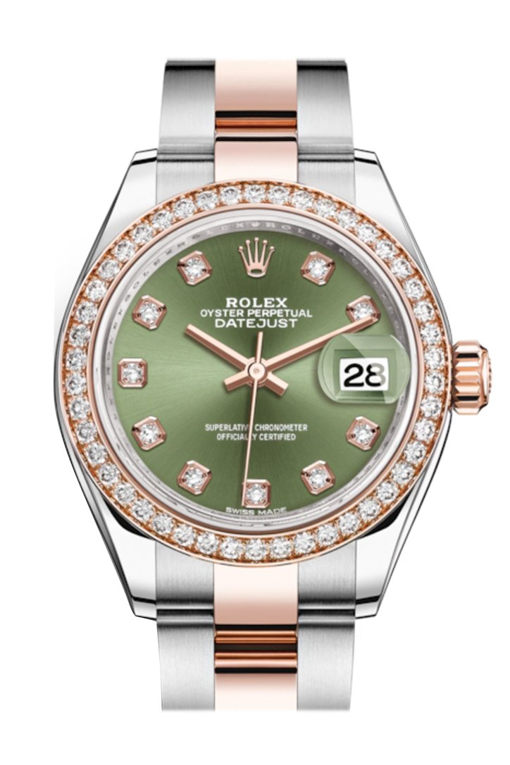 Rolex Datejust 28 Olive Green Diamonds Dial Diamond Bezel Rose Gold Two Tone Watch 279381Rbr 279381