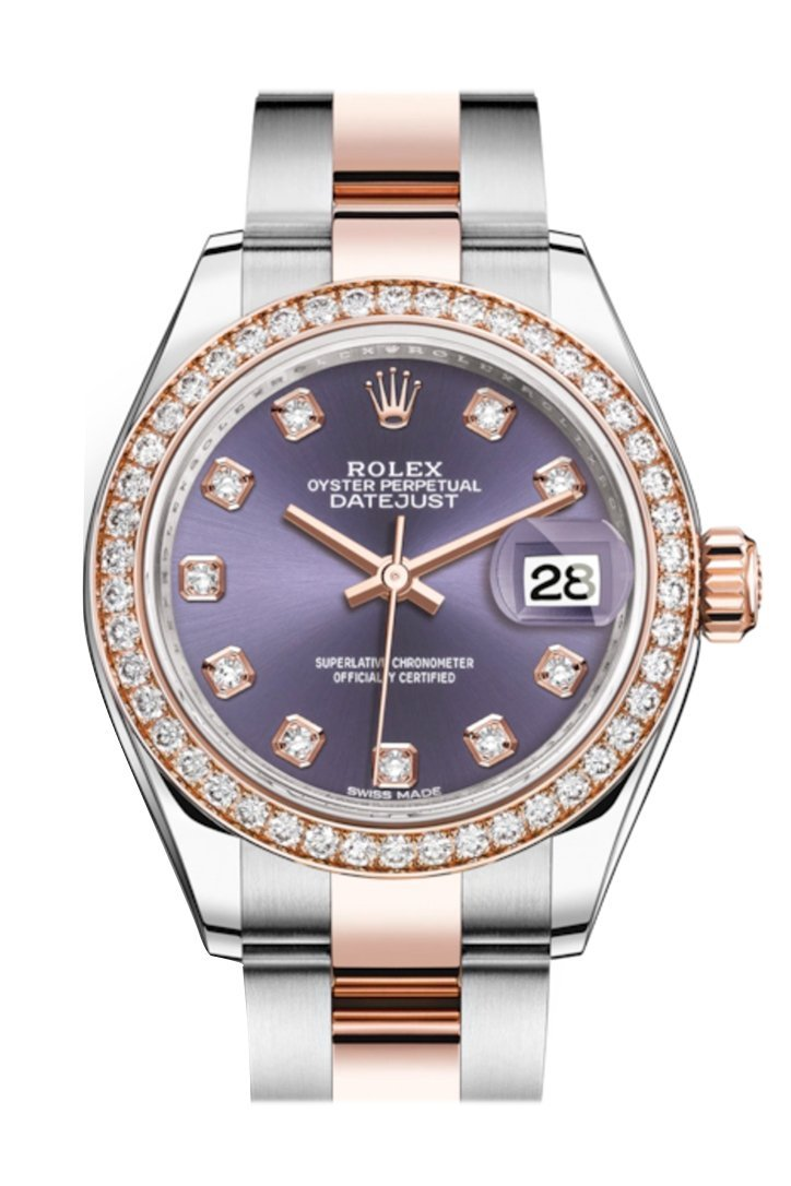 Rolex Datejust 28 Aubergine Diamonds Dial Diamond Bezel Rose Gold Two Tone Watch 279381Rbr 279381