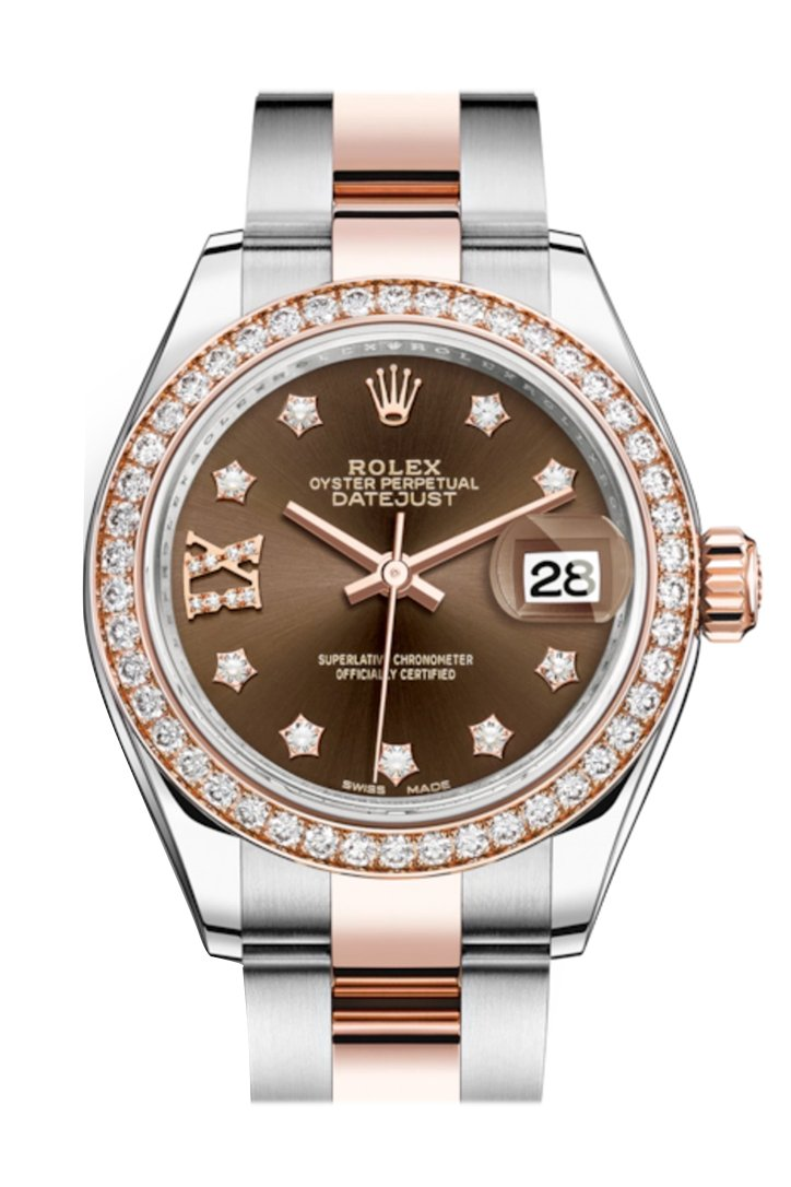 Rolex Datejust 28 Chocolate Large Vi Diamonds Dial Diamond Bezel Rose Gold Two Tone Watch 279381Rbr