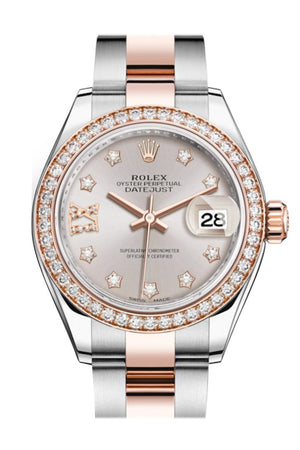 Rolex Datejust 28 Sundust Large Vi Diamonds Dial Diamond Bezel Rose Gold Two Tone Watch 279381Rbr