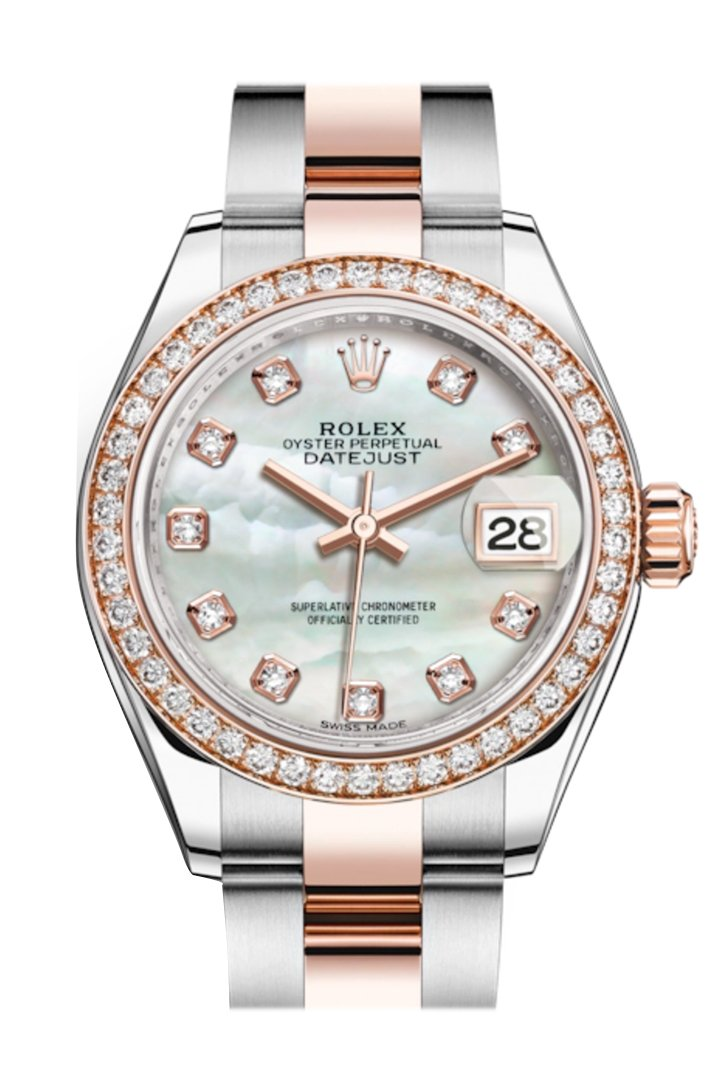Rolex Datejust 28 White Mother-Of-Pearl Diamonds Dial Diamond Bezel Rose Gold Two Tone Watch