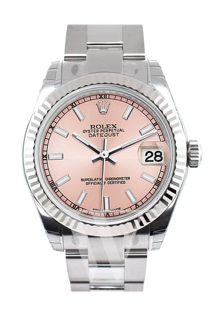 Rolex Datejust 31 Pink Dial White Gold Fluted Bezel Ladies Watch 178274 / None