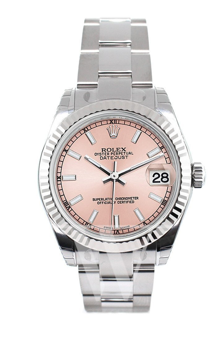 Rolex Datejust 31 Pink Dial White Gold Fluted Bezel Ladies Watch 178274