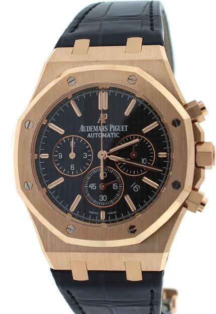 Audemars Piguet Royal Oak Chronograph 41Mm Pink Gold Blak Dial Watch 26320Or.oo.d002Cr.01 Black /