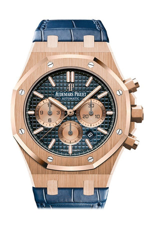 Audemars Piguet Royal Oak Rose Gold Blue Dial Leather Strap 26331Or.oo.d315Cr.01 Watch
