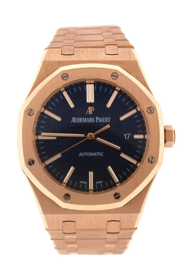 Audemars Piguet Royal Oak Selfwinding Automatic Blue Dial 18Kt Pink Gold Mens Watch