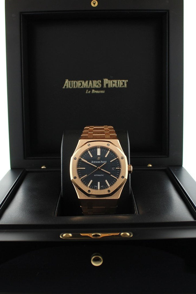 Audemars Piguet Royal Oak Selfwinding Automatic Blue Dial 18kt Pink Gold Men's Watch 15400OR.OO.1220OR.03