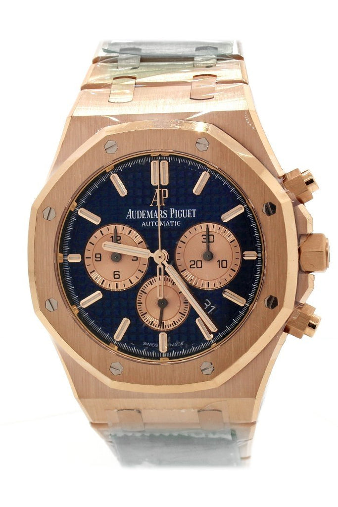 Audemars Piguet Royal Oak Blue Grande Tapisserie Dial Mens 18K Rose Gold Watch 26331Or.oo.1220Or.01