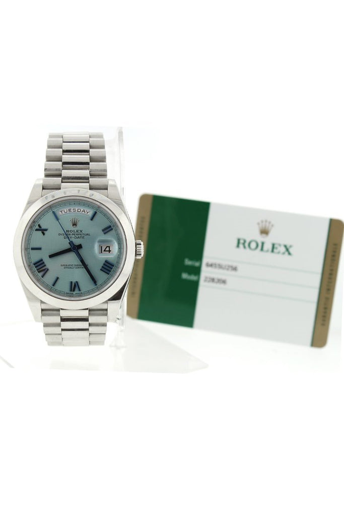 Rolex Day-Date 40 Ice Blue Quadrant Motif Dial Dome Bezel Platinum President Automatic Mens Watch