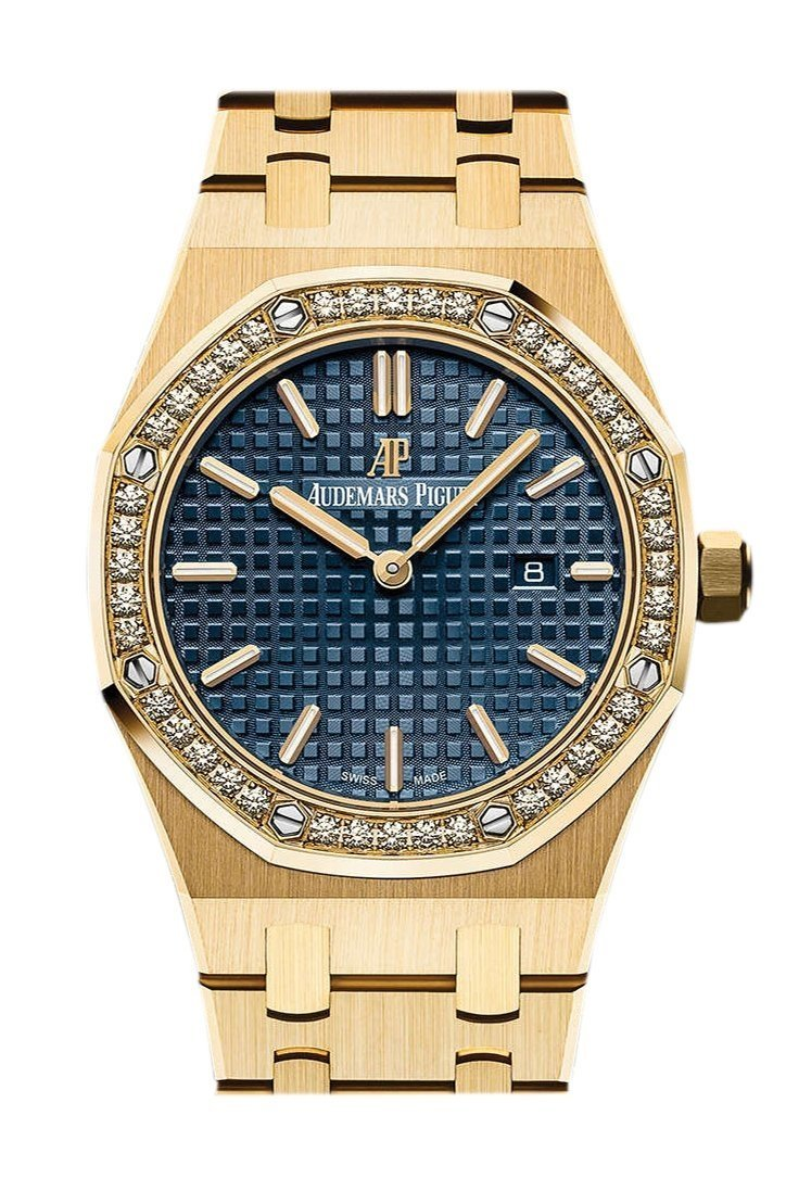 Audemars Piguet Royal Oak Blue Dial Ladies 18 Carat Yellow Gold Watch 67651Ba.zz.1261Ba.02
